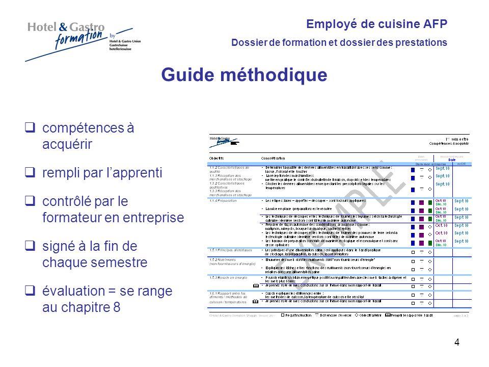 Guide méthodique compétences à acquérir rempli par l'apprenti
