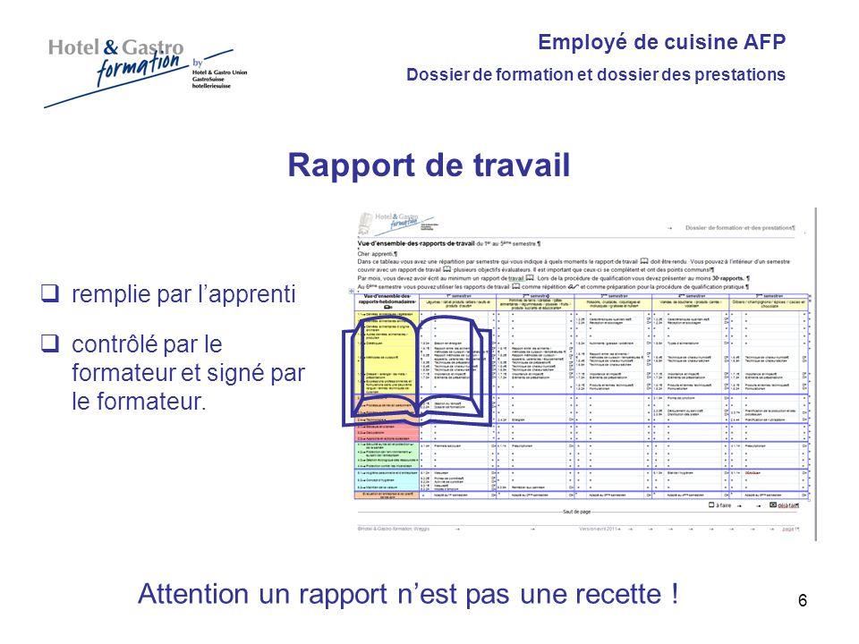 Attention un rapport n'est pas une recette !