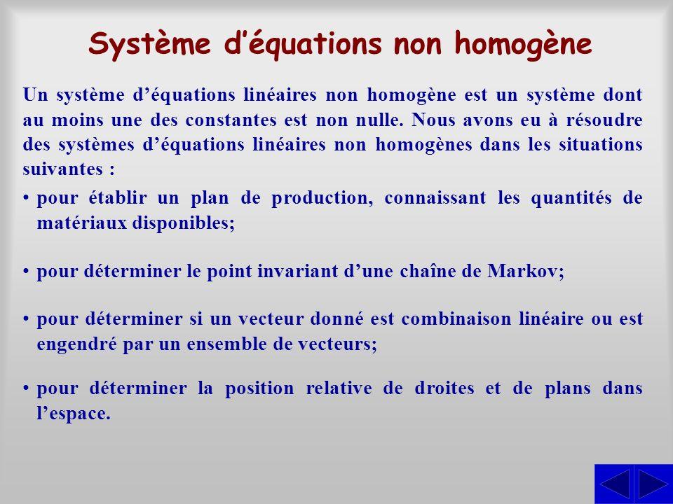 Système d'équations non homogène