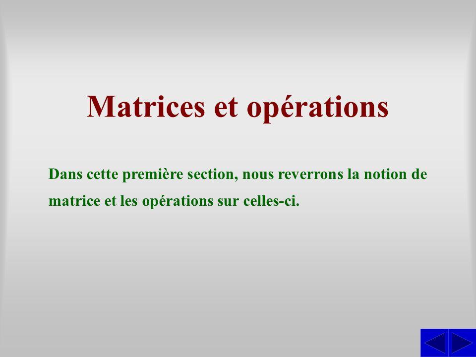 Matrices et opérations