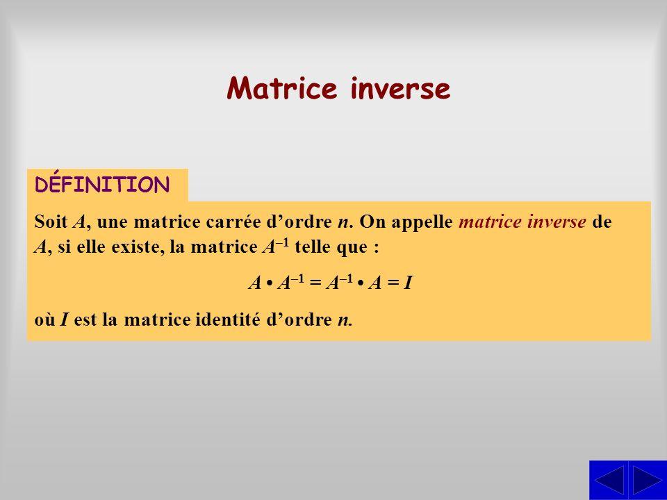 Matrice inverse DÉFINITION