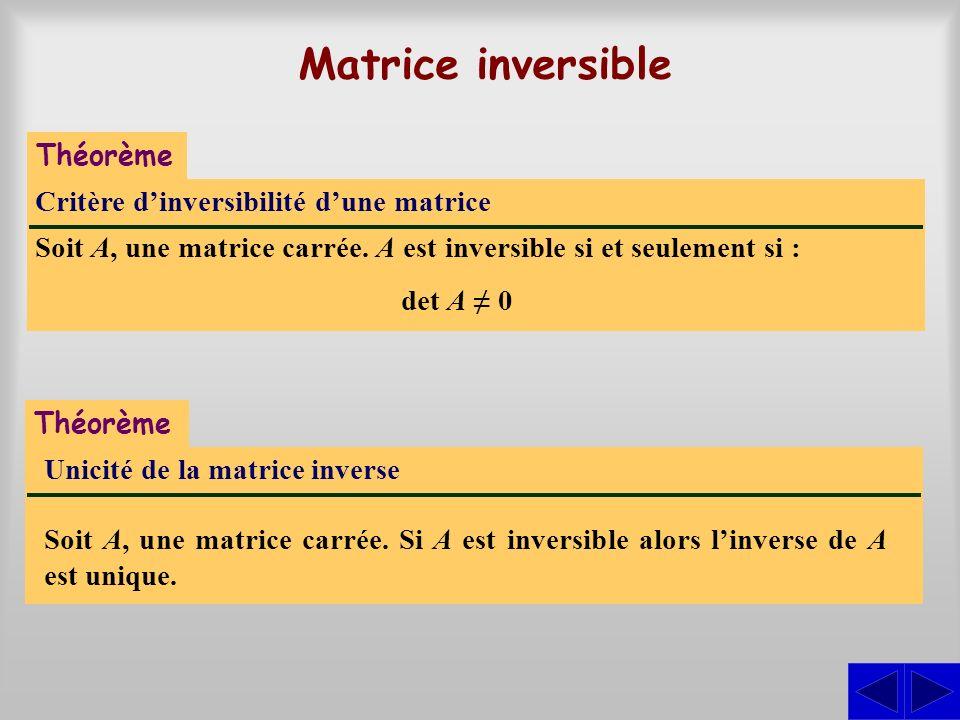 Matrice inversible Théorème Critère d'inversibilité d'une matrice