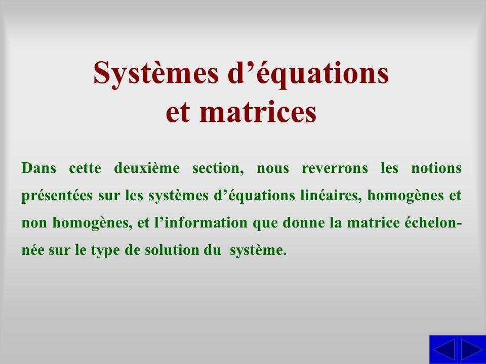 Systèmes d'équations et matrices