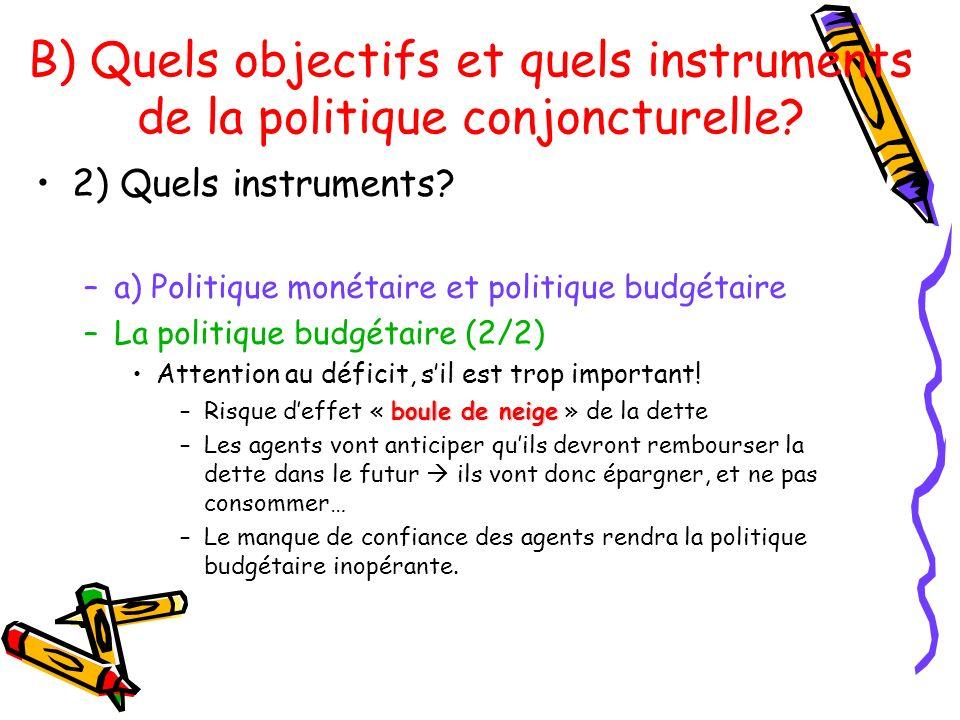 B) Quels objectifs et quels instruments de la politique conjoncturelle