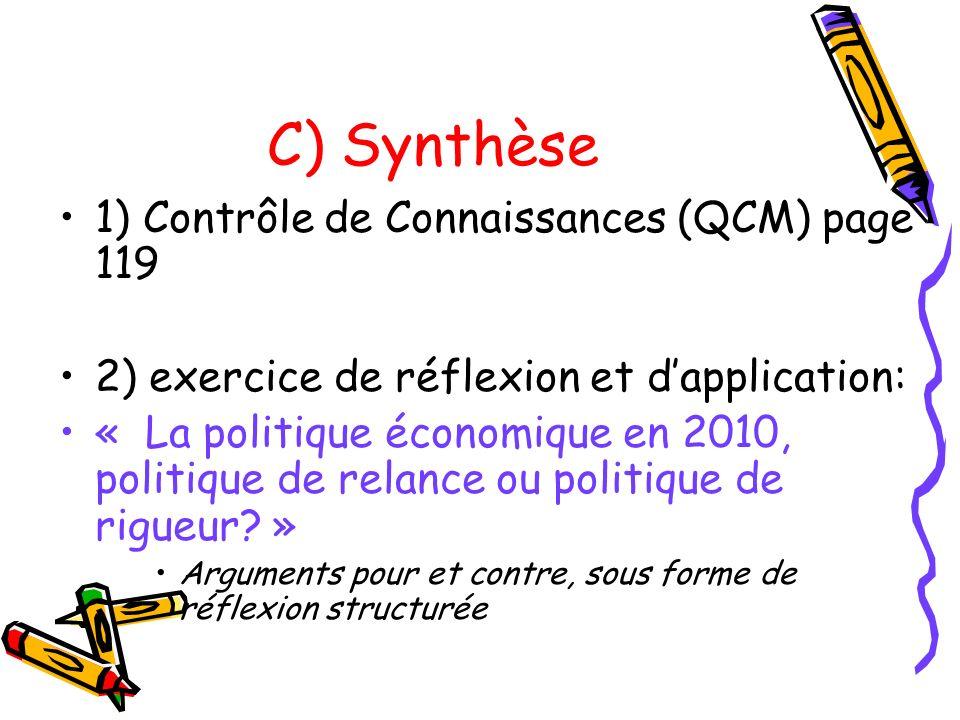 C) Synthèse 1) Contrôle de Connaissances (QCM) page 119