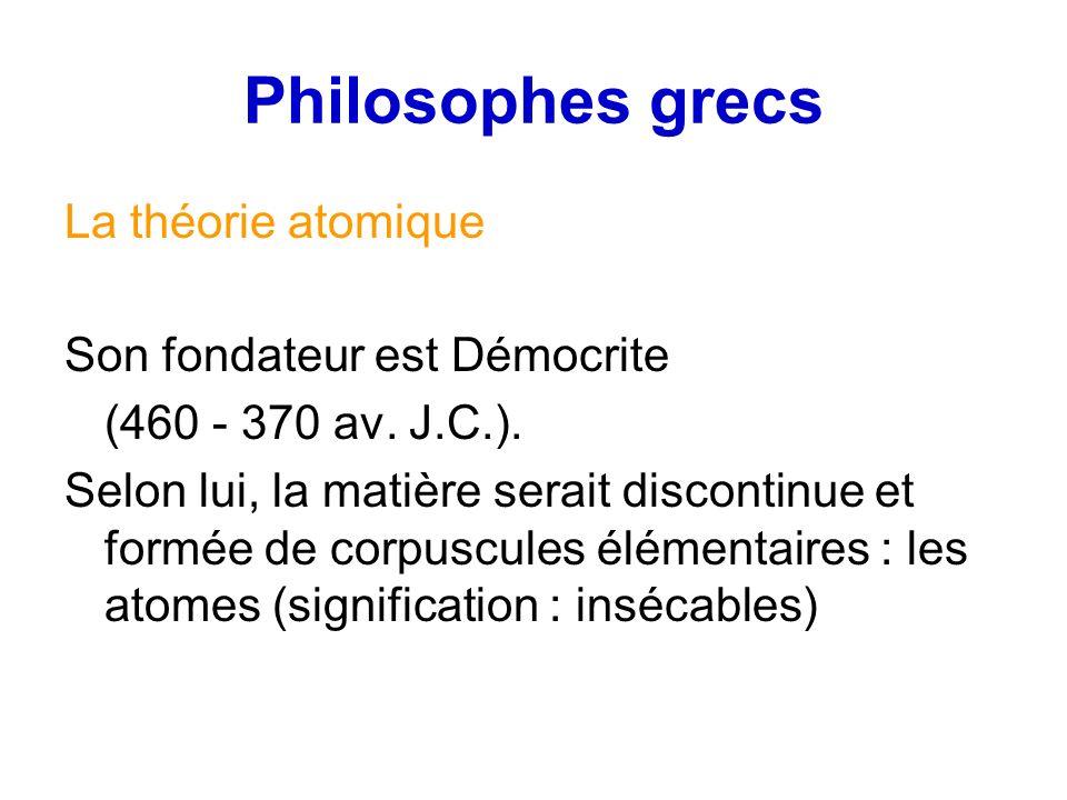 Philosophes grecs La théorie atomique Son fondateur est Démocrite