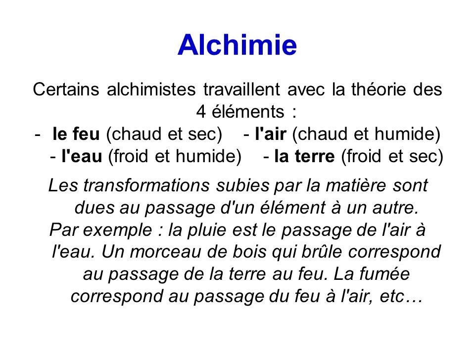 Certains alchimistes travaillent avec la théorie des 4 éléments :
