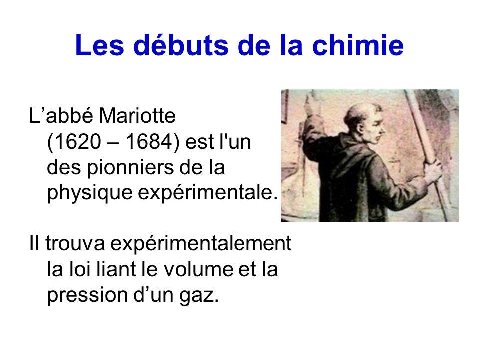 Les débuts de la chimie L'abbé Mariotte (1620 – 1684) est l un des pionniers de la physique expérimentale.