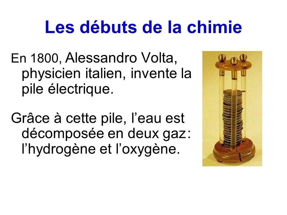 Les débuts de la chimie En 1800, Alessandro Volta, physicien italien, invente la pile électrique.