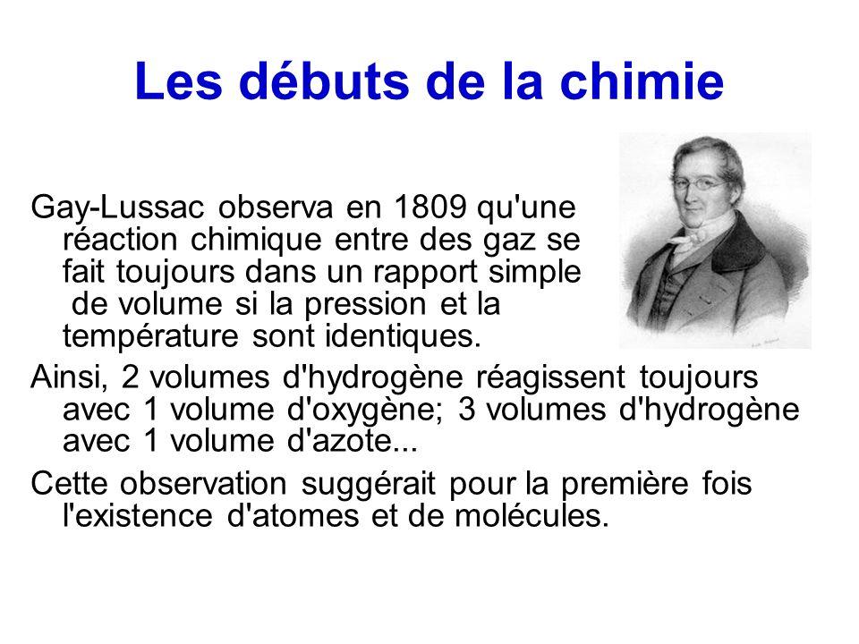 Les débuts de la chimie Gay-Lussac observa en 1809 qu une