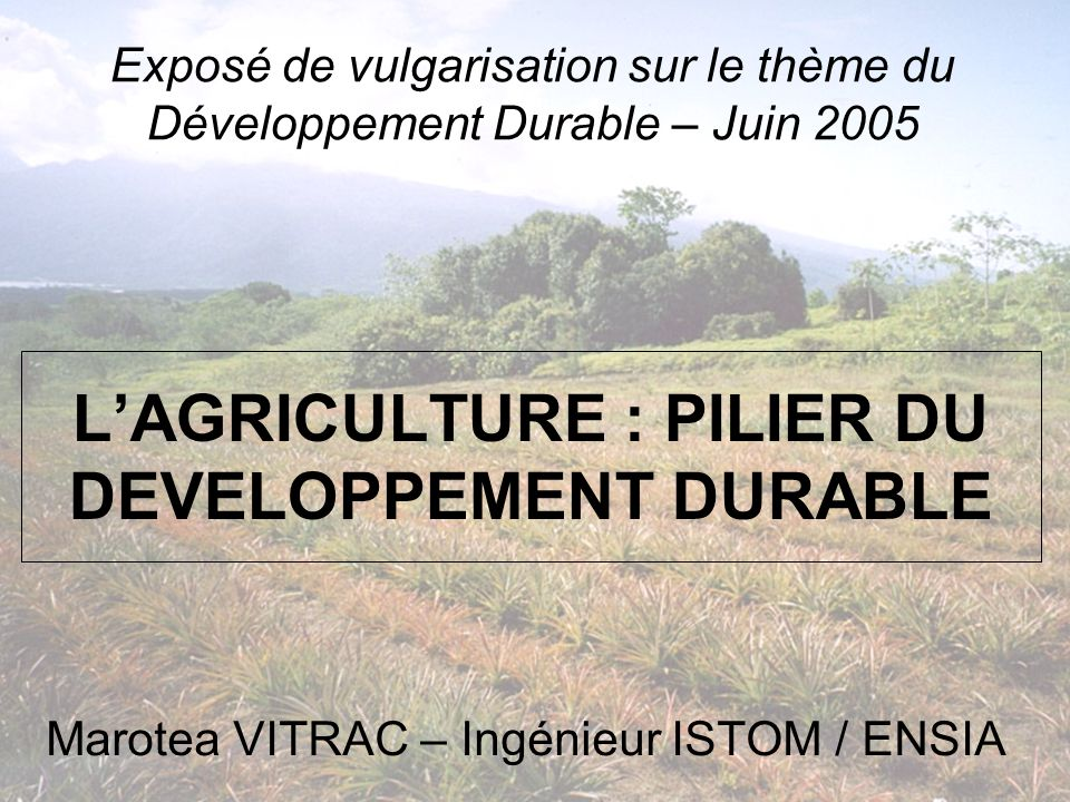 L'AGRICULTURE : PILIER DU DEVELOPPEMENT DURABLE