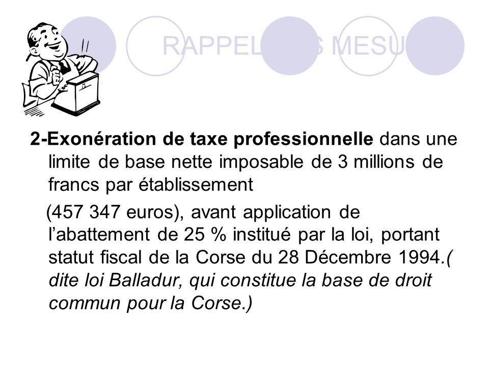 RAPPEL DES MESURES 2-Exonération de taxe professionnelle dans une limite de base nette imposable de 3 millions de francs par établissement.