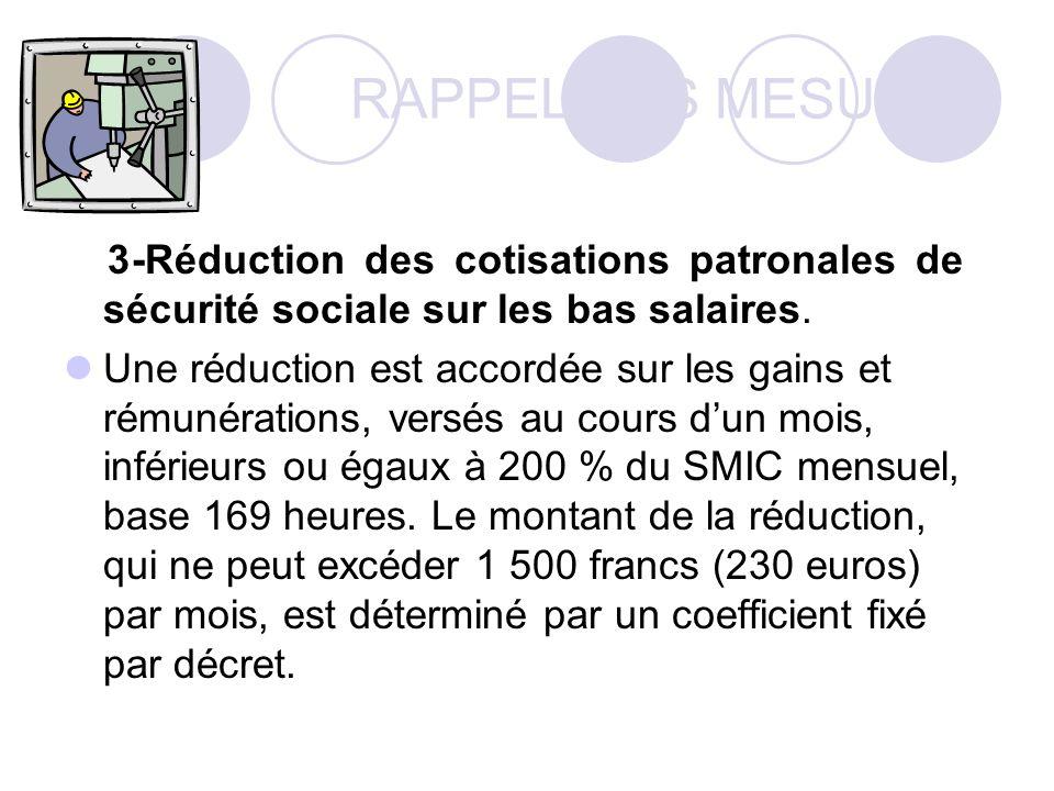 RAPPEL DES MESURES 3-Réduction des cotisations patronales de sécurité sociale sur les bas salaires.