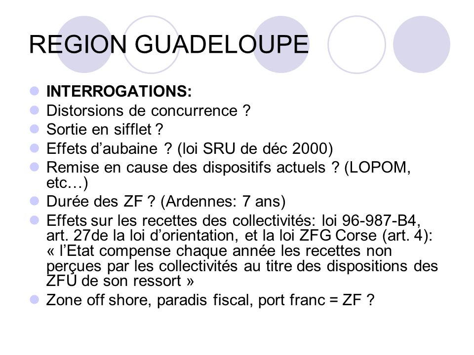 REGION GUADELOUPE INTERROGATIONS: Distorsions de concurrence