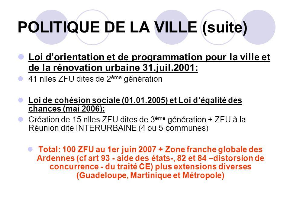 POLITIQUE DE LA VILLE (suite)