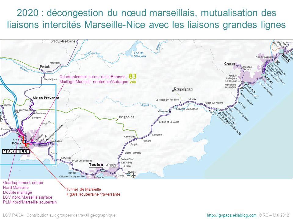 2020 : décongestion du nœud marseillais, mutualisation des liaisons intercités Marseille-Nice avec les liaisons grandes lignes