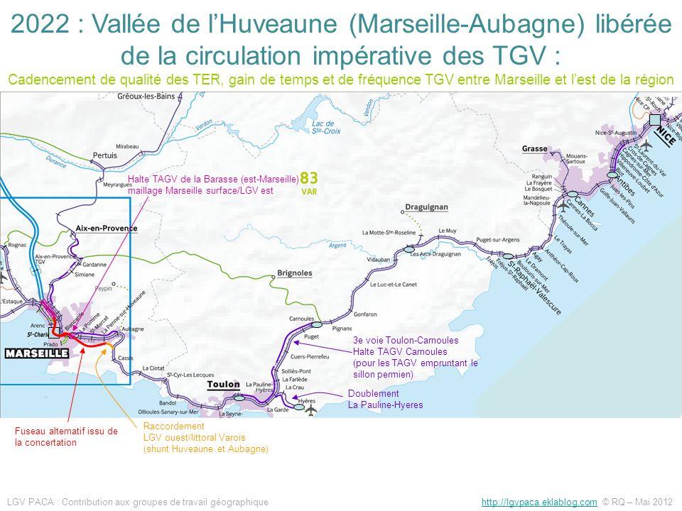 2022 : Vallée de l'Huveaune (Marseille-Aubagne) libérée de la circulation impérative des TGV : Cadencement de qualité des TER, gain de temps et de fréquence TGV entre Marseille et l'est de la région