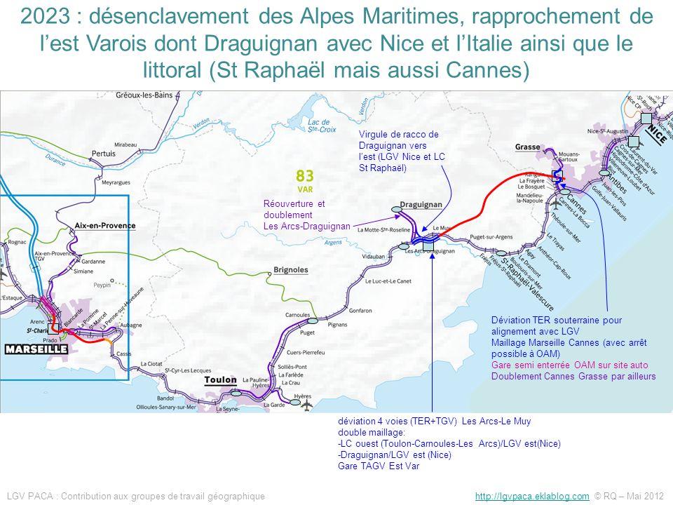 2023 : désenclavement des Alpes Maritimes, rapprochement de l'est Varois dont Draguignan avec Nice et l'Italie ainsi que le littoral (St Raphaël mais aussi Cannes)