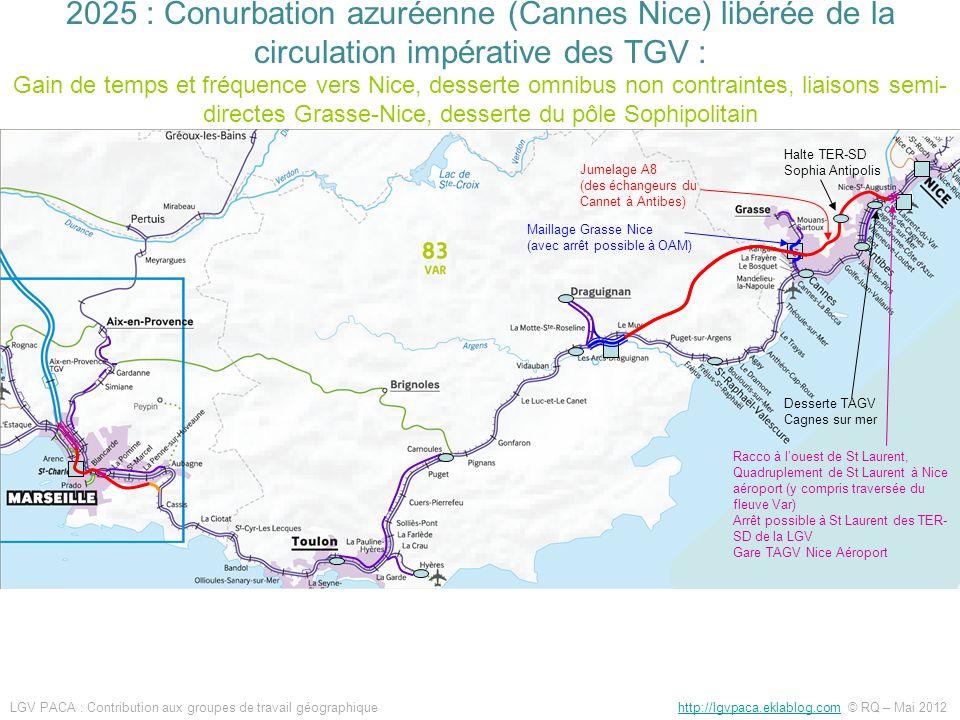 2025 : Conurbation azuréenne (Cannes Nice) libérée de la circulation impérative des TGV : Gain de temps et fréquence vers Nice, desserte omnibus non contraintes, liaisons semi-directes Grasse-Nice, desserte du pôle Sophipolitain