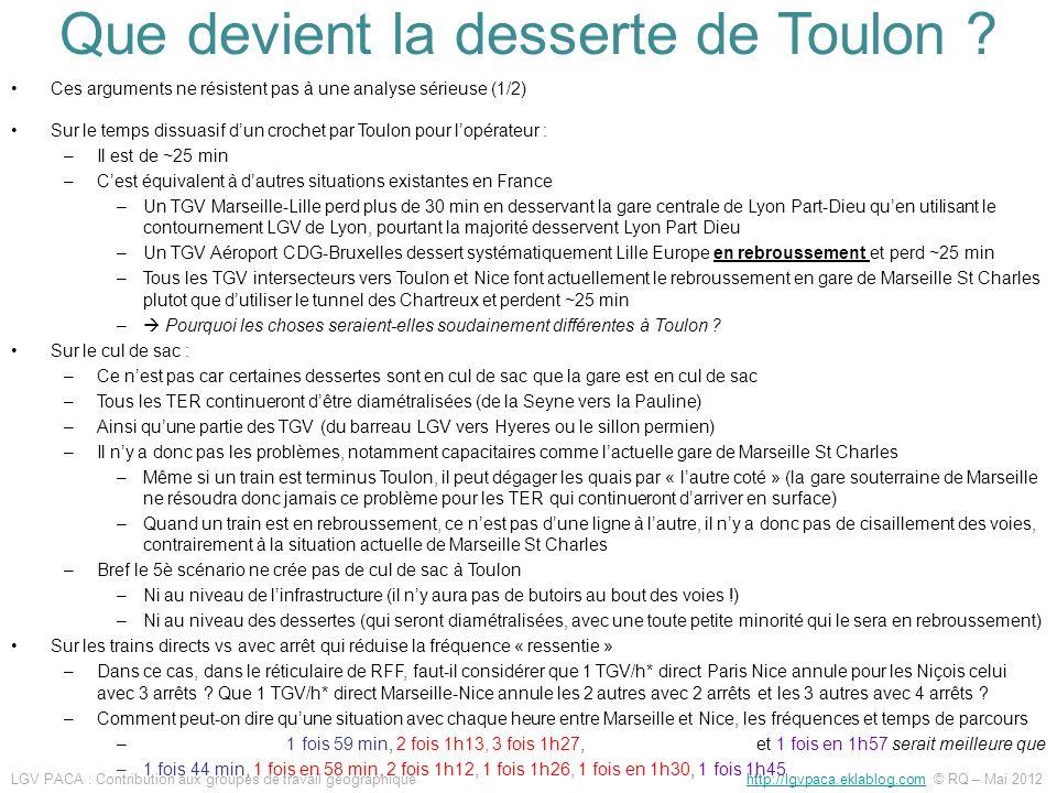 Que devient la desserte de Toulon