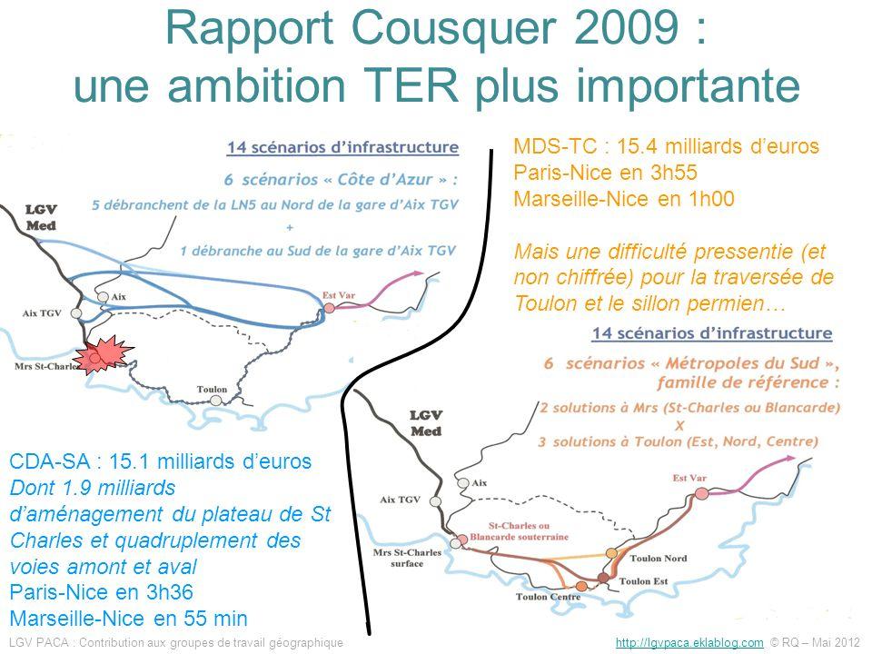 Rapport Cousquer 2009 : une ambition TER plus importante
