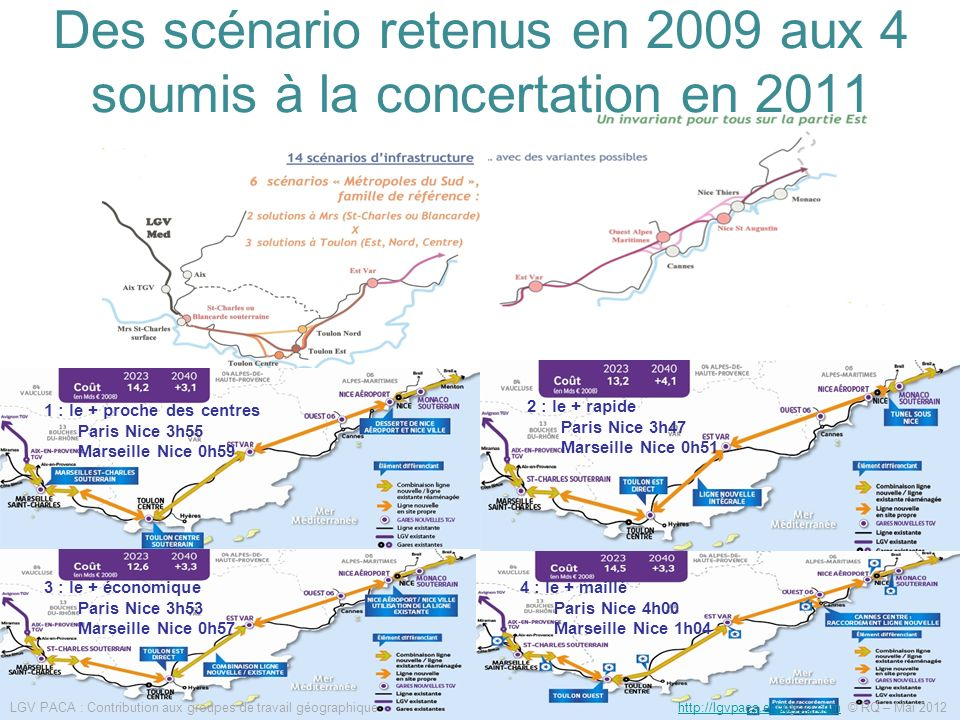 Des scénario retenus en 2009 aux 4 soumis à la concertation en 2011
