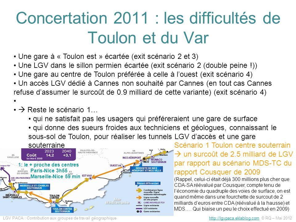 Concertation 2011 : les difficultés de Toulon et du Var