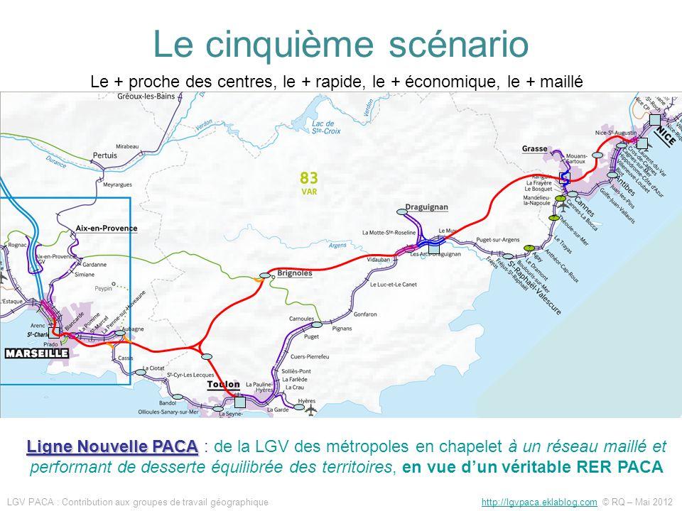 Le cinquième scénario Le + proche des centres, le + rapide, le + économique, le + maillé.