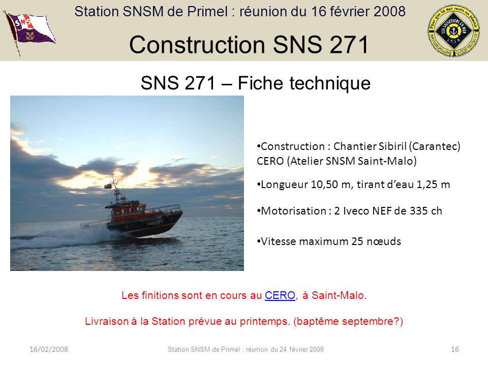 Construction SNS 271 SNS 271 – Fiche technique