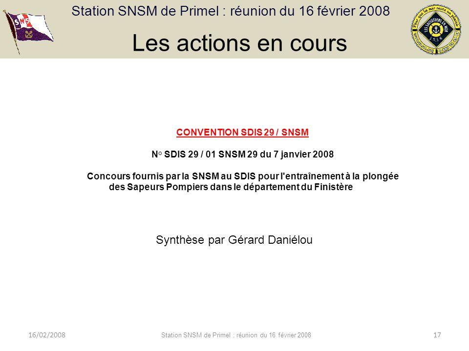 Les actions en cours Synthèse par Gérard Daniélou