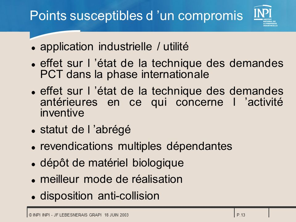 Points susceptibles d 'un compromis