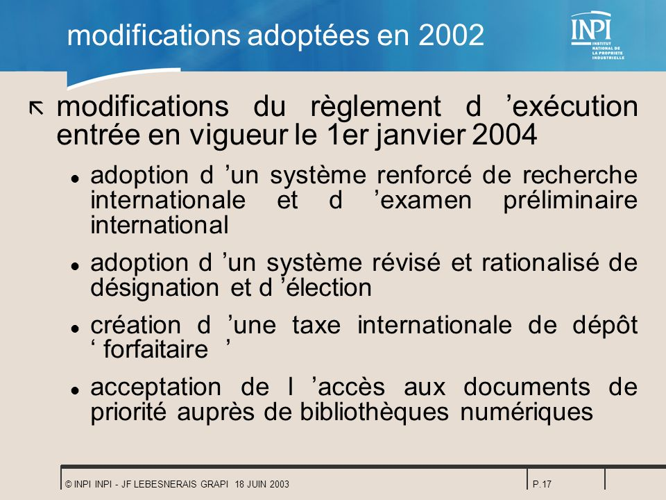 modifications adoptées en 2002