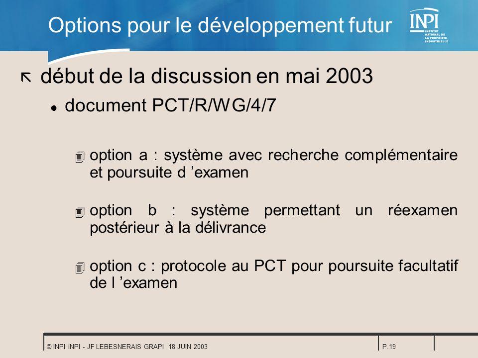 Options pour le développement futur