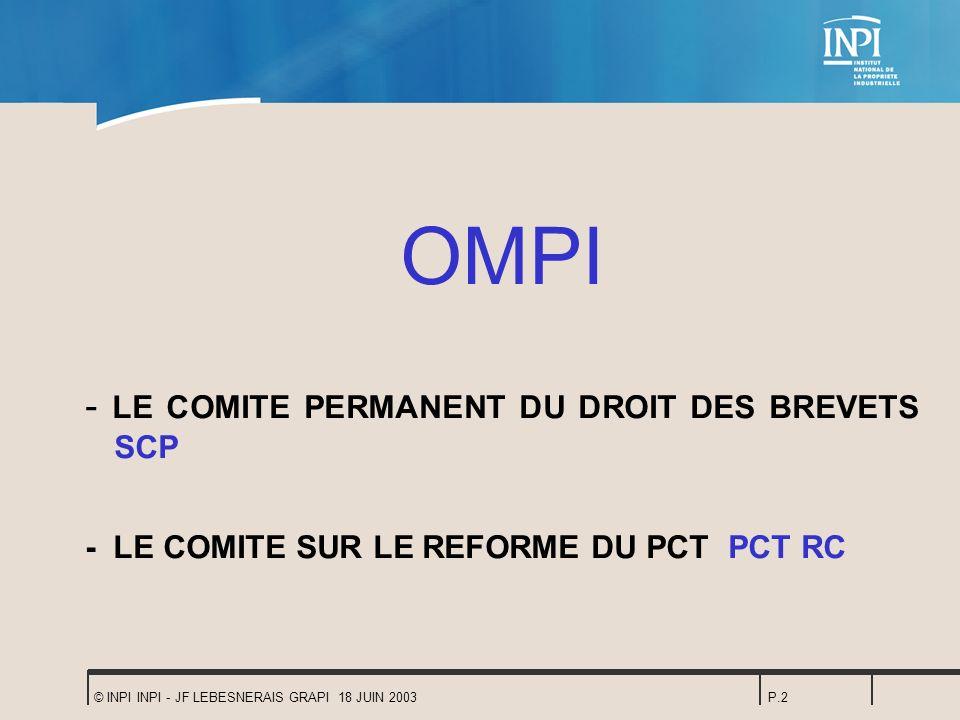 OMPI - LE COMITE PERMANENT DU DROIT DES BREVETS SCP