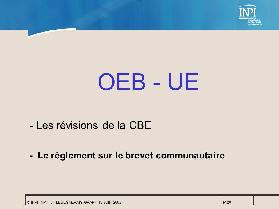 OEB - UE - Les révisions de la CBE