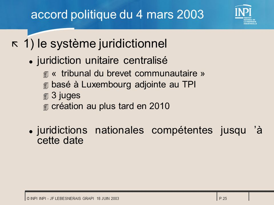 accord politique du 4 mars 2003