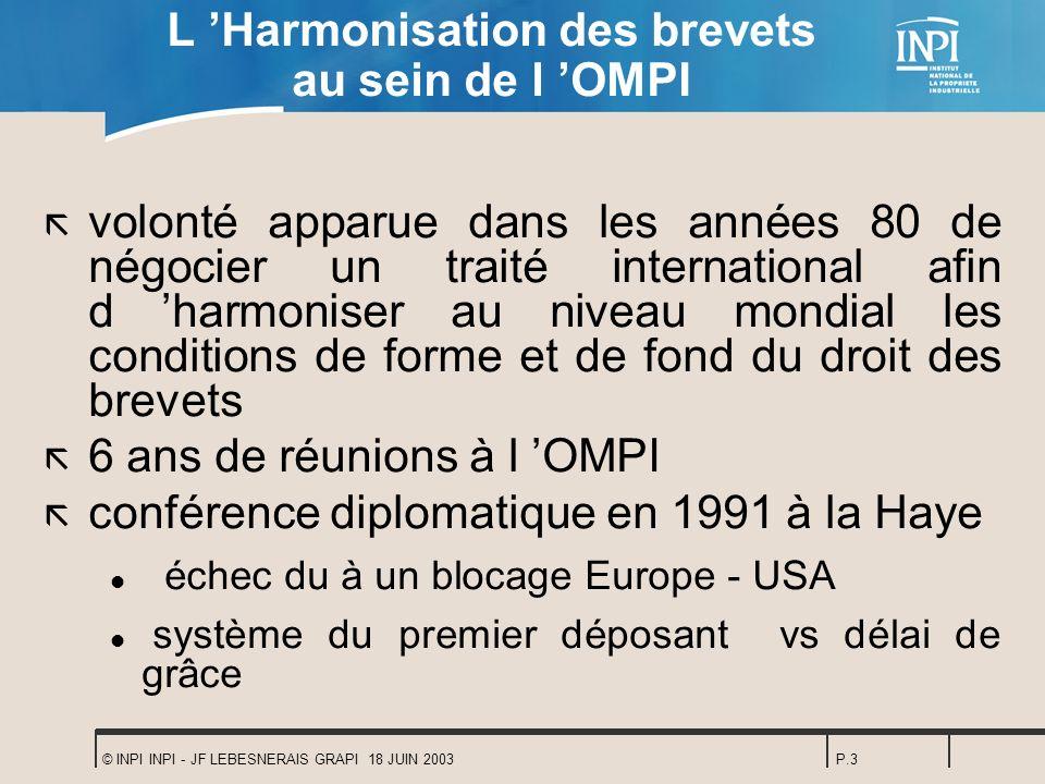 L 'Harmonisation des brevets au sein de l 'OMPI