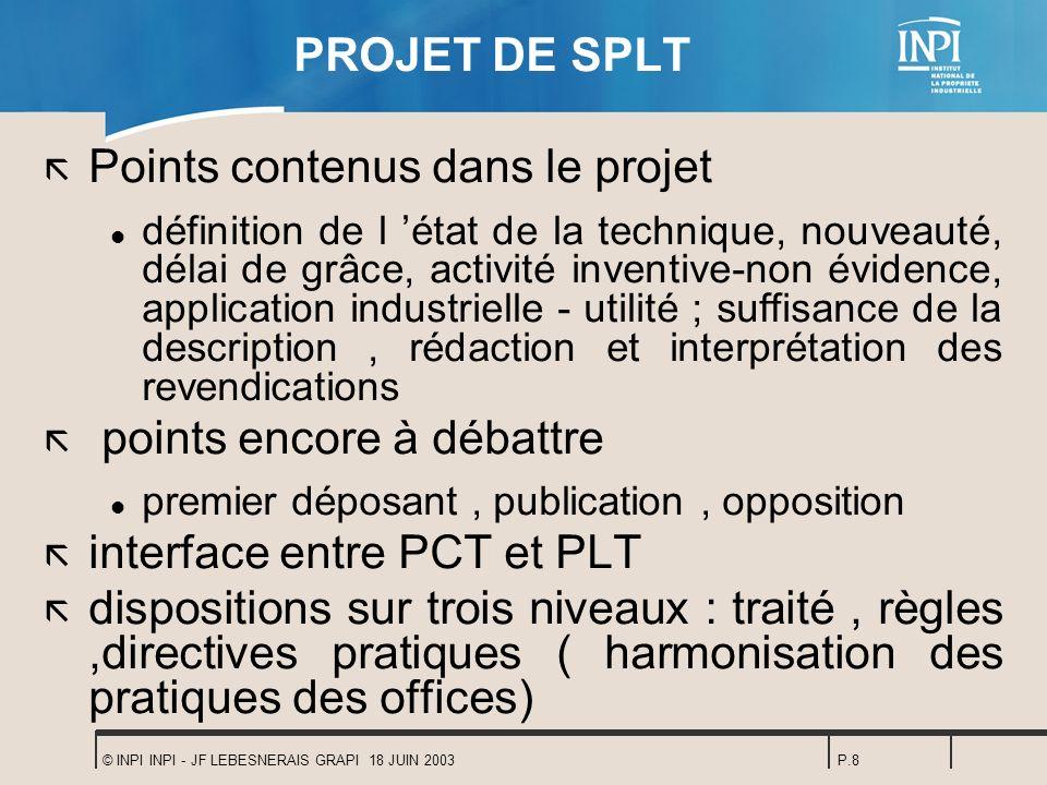 Points contenus dans le projet