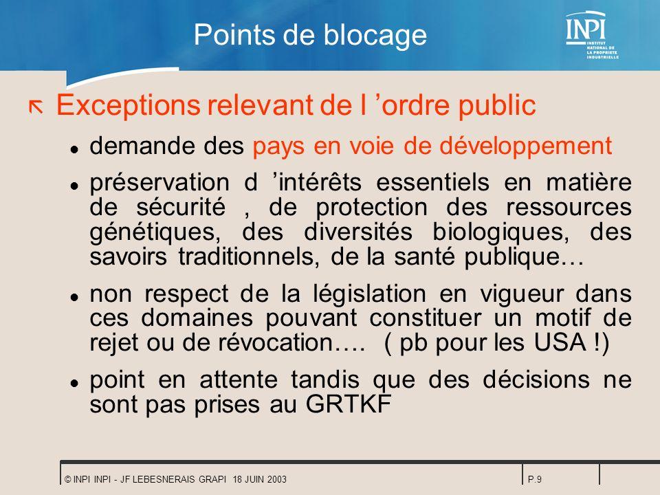 Exceptions relevant de l 'ordre public