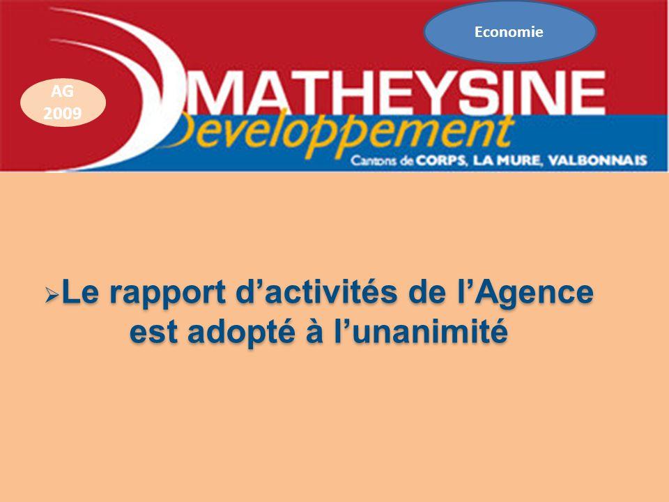Le rapport d'activités de l'Agence est adopté à l'unanimité