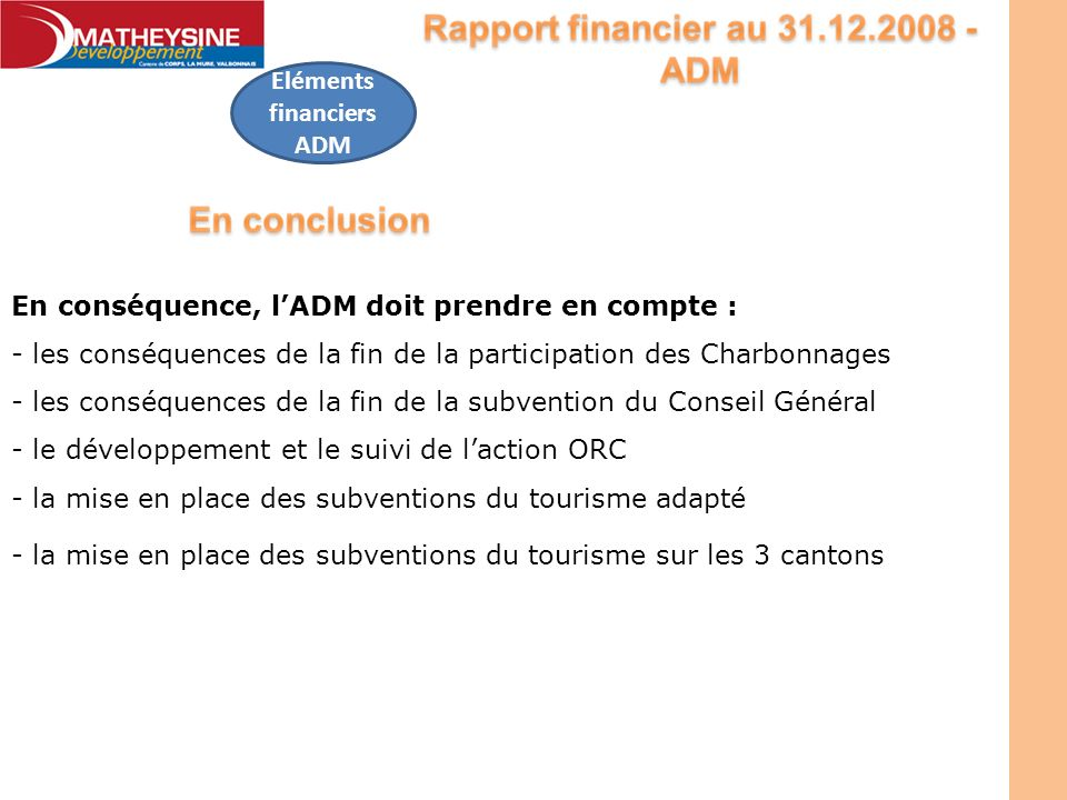Eléments financiers ADM