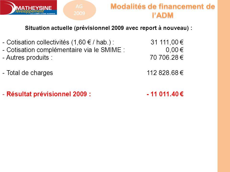 Situation actuelle (prévisionnel 2009 avec report à nouveau) :