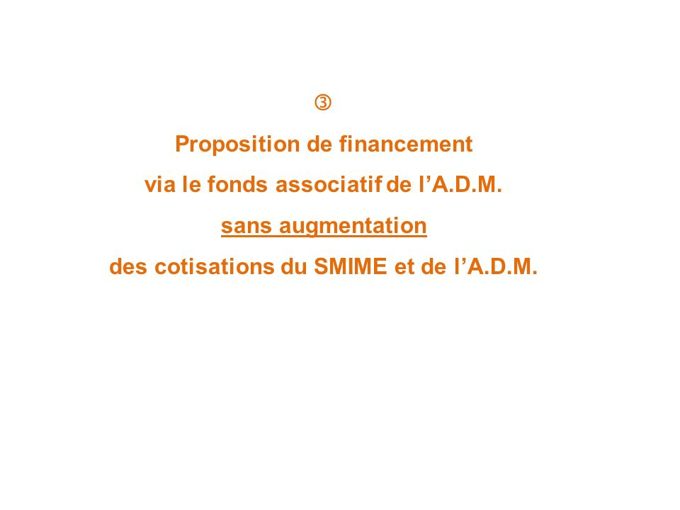 Proposition de financement via le fonds associatif de l'A.D.M.