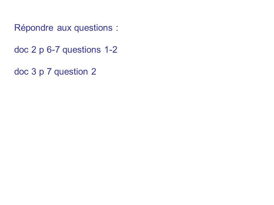 Répondre aux questions :