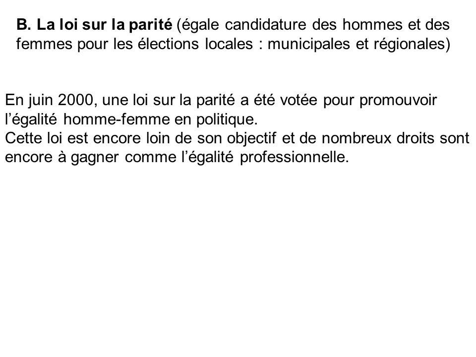 B. La loi sur la parité (égale candidature des hommes et des femmes pour les élections locales : municipales et régionales)