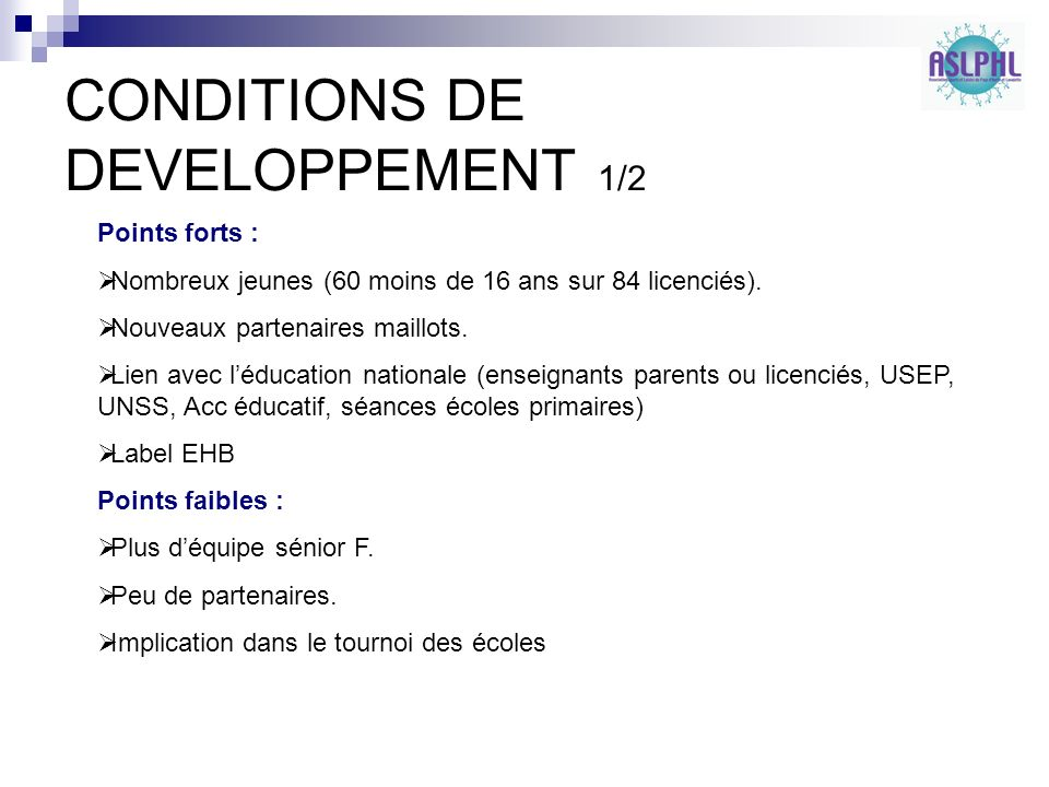 CONDITIONS DE DEVELOPPEMENT 1/2