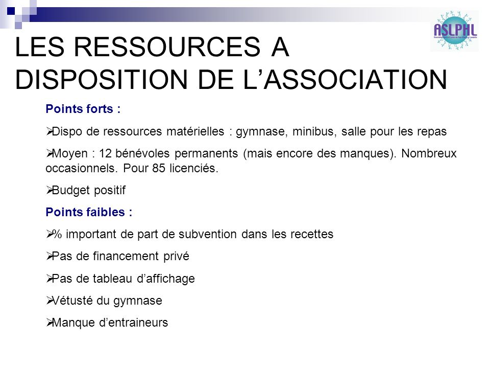 LES RESSOURCES A DISPOSITION DE L'ASSOCIATION