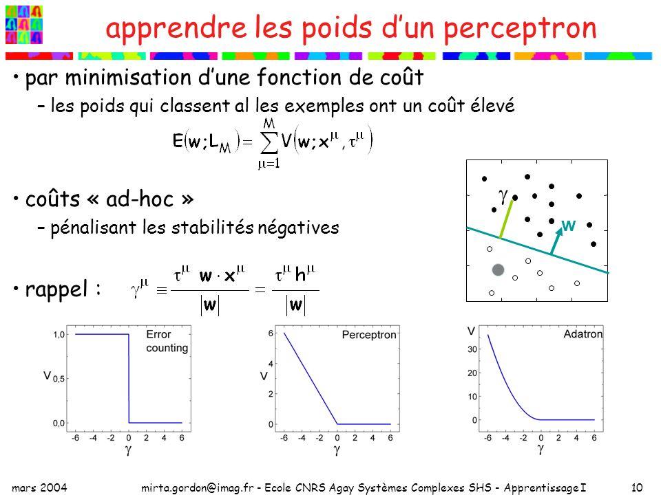 apprendre les poids d'un perceptron