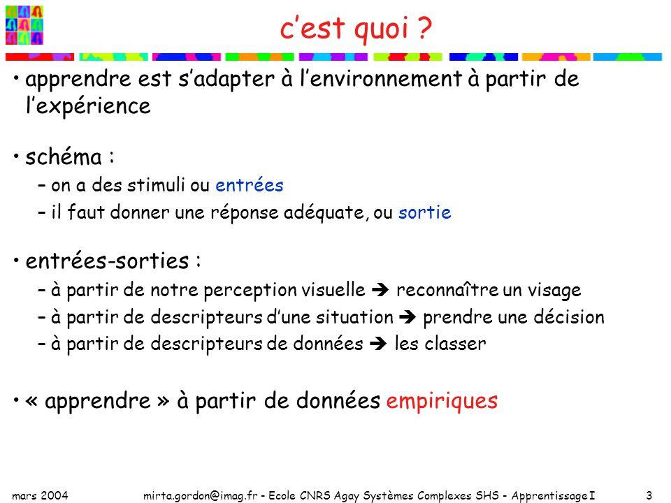c'est quoi apprendre est s'adapter à l'environnement à partir de l'expérience. schéma : on a des stimuli ou entrées.