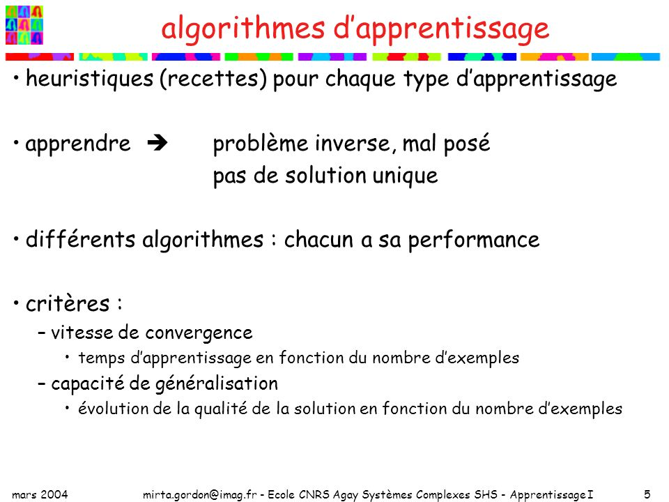 algorithmes d'apprentissage